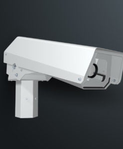 M12PWSS pole top spigot mounted outdoor camera housing with pan tilt action by Security Design CCTV enclosures Australia.