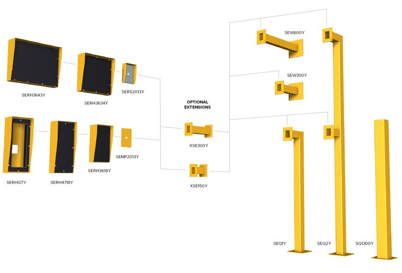 Access control bollards and proximity readers - standard range and custom design and manufacture by Security Design Co, Brisbane