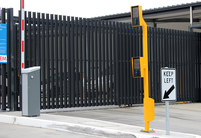 Public area parking intercom, proximity reader bollard. Dual height design. Manufactured by Security Design Co, Brisbane.