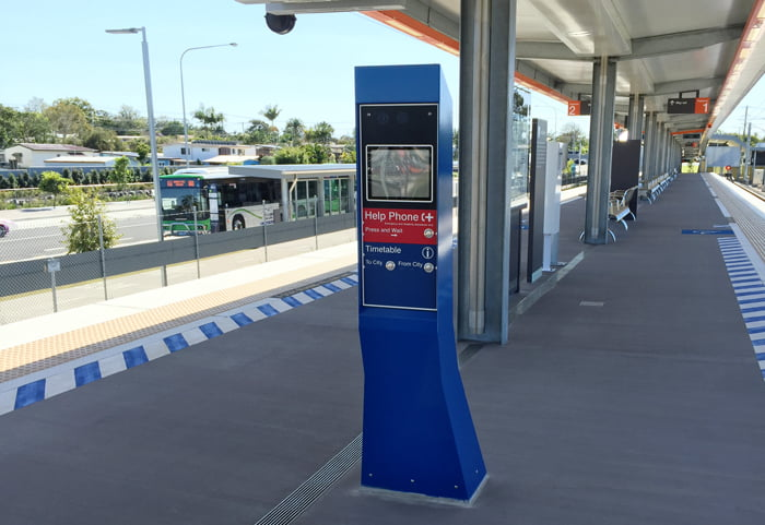 Public transport and railway intercoms and pedestal kiosks, custom designed and manufactured by Security Design Co Brisbane.